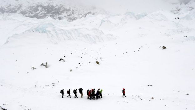 Rescuers carry a Sherpa injured by an avalanche that hit Everest Base Camp in Nepal's earthquake, in a picture taken on 25 April 2015