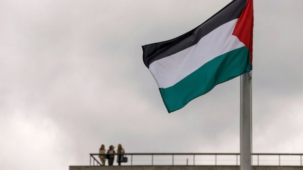 The Palestinian flag flies outside the United Nations during the 70th session of the U. N. General Assembly in New York (September 30, 2015)