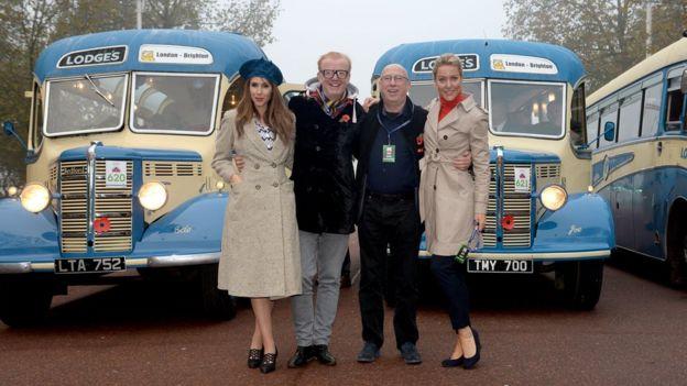 Alex Jones, Chris Evans, Ken Bruce and Natalie Lowe in front of 1950s buses