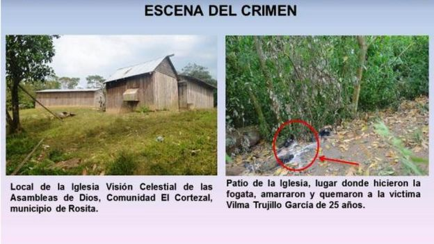 Fotografías del lugar donde Vilma Trujillo fue quemada