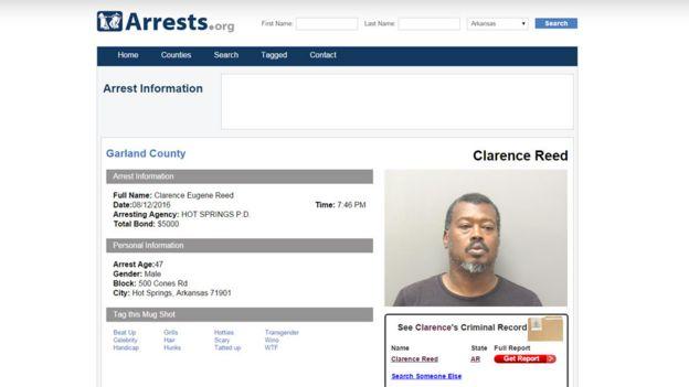 Hoja de arresto de Clarence Reed