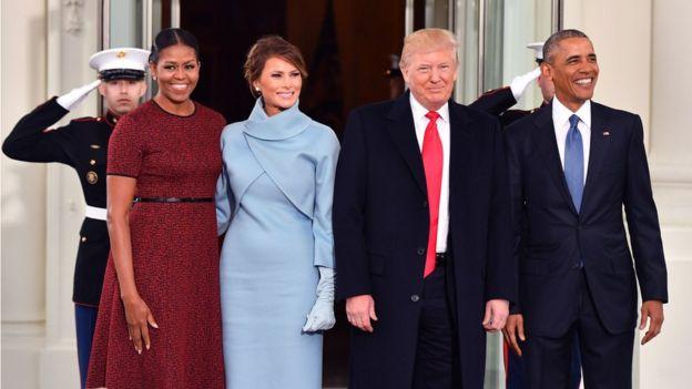 Michelle Obama, Melania Trump, Donald Trump y Barack Obama