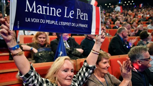 Marine Le Pen supporters