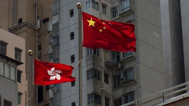 中國國旗和香港區旗