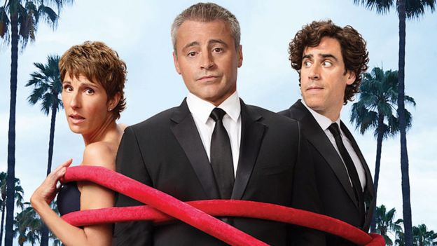 Matt LeBlanc with Episodes co-stars Tamsin Greig and Stephen Mangan
