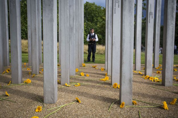 A policeman stands at the memorial to 7/7 in Hyde Park
