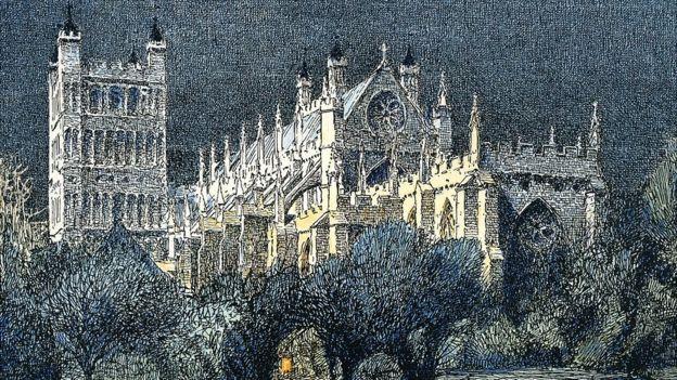 Ilustración de la catedral de Exeter que llevaba un tren del siglo XIX