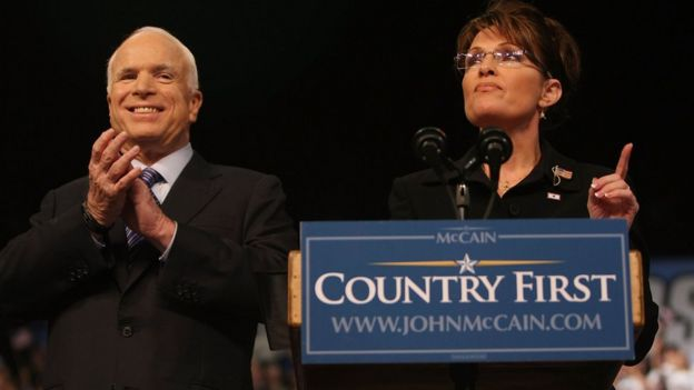 Alaska Gov. Sarah Palin speaks as Republican presidential nominee John McCain looks on at a campaign rally August 29, 2008 in Dayton, Ohio.