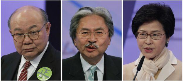 特首选举有三名候选人,分别是前政务司司长林郑月娥、前财务司司长曾俊华及退休法官胡国兴。