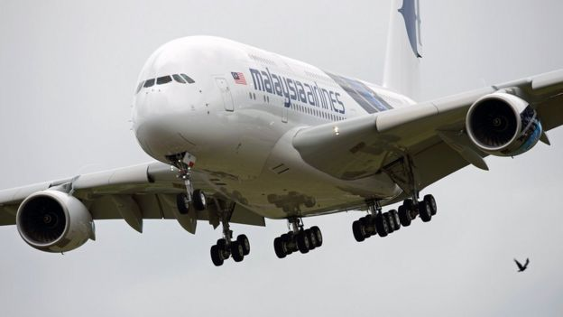 A Malaysian Airlines Airbus A380 at the Farnborough air show, July 2012