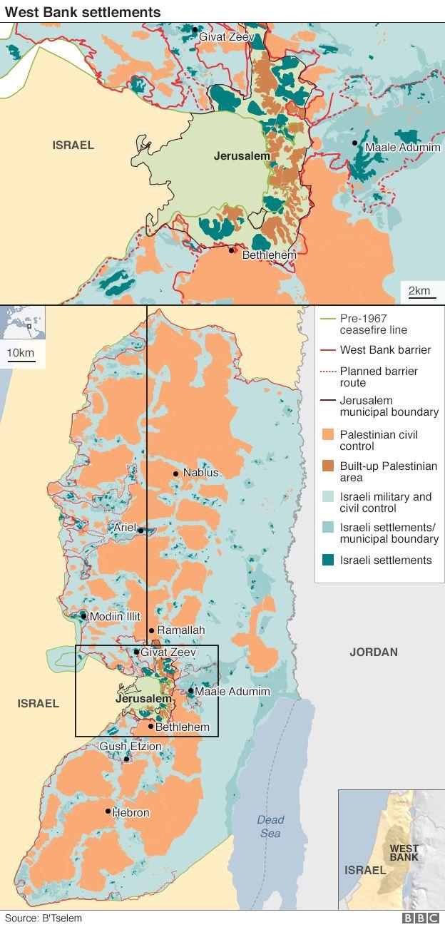 Israeli settlements map