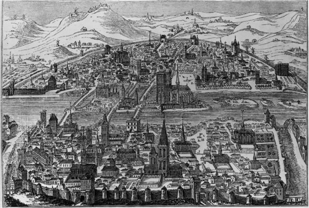 Circa 1600, Encircling the River Seine; Paris looking North in the reign of Henri IV (1553-1610). Notre Dame in the centre.