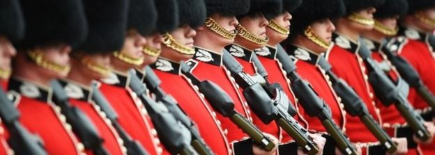 British Military soldiers marching at Horse Guards Parade