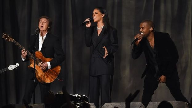 Sir Paul McCartney performs with Rihanna and Kanye West at the 2015 Grammys