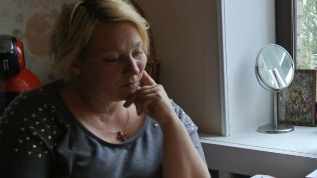 Alla Kravtsova sits at her home in northern Moscow.