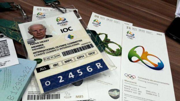 Удостоверение Патрика Хики и билеты на Игры в Рио