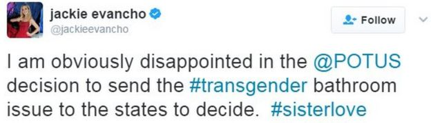 Tweet from singer Jackie Evancho reads: I am obviously disappointed in the @POTUS decision to send the #transgender bathroom issue to the states to decide.