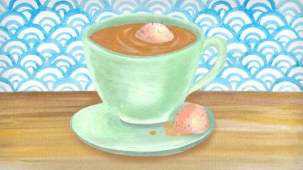 Dibujo en témpera de taza de té
