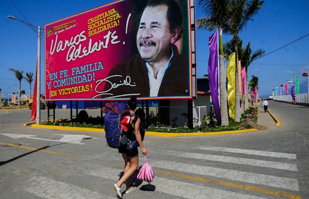 Un cartel del presidente Daniel Ortega en Managua.