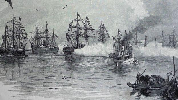 Hình ảnh minh họa trong cuốn sách cảnh đoàn chiến hạm của Hoàng thế tử Nga tới Sài Gòn