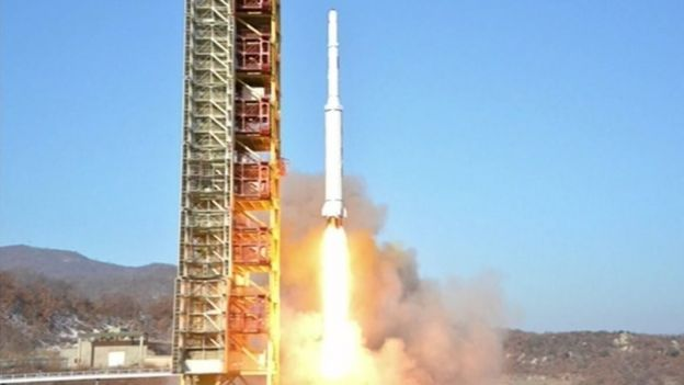Image from North Korean TV of rocket launch on 7 February 2016