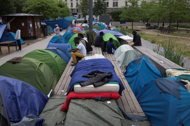 A makeshift migrant camp in Paris, 27 May