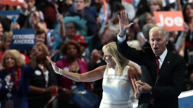 Vice President Joe Biden and his wife Jill Biden, wave to the crowd after delivering remarks at the Democratic convention.