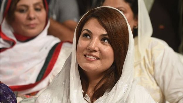 Reham Khan, wife of Pakistani opposition leader Imran Khan is pictured during his husband's campaigReham Khan and Imran Khan were married earlier this year n meeting ahead of the by-election for NA-122 (a constituency for the National Assembly of Pakistan) to be held on October 11 in Lahore on October 4, 2015