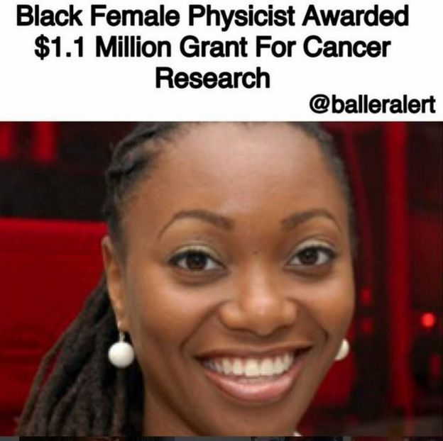 News article about a black female cancer researcher