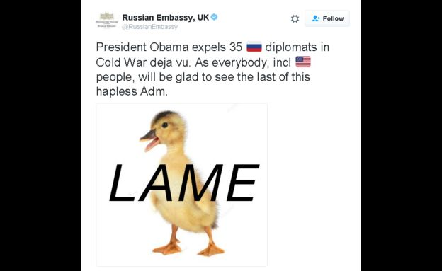 Russian Embassy tweets: President Obama expels 35 🇷Russian diplomats in Cold War deja vu. As everybody, incl american people, will be glad to see the last of this hapless Adm.