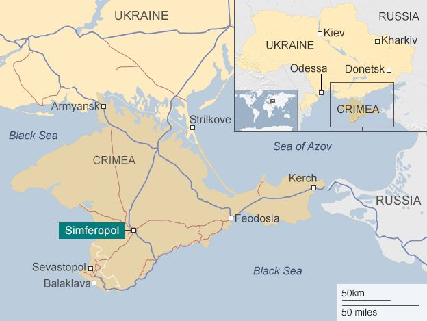 Map showing Crimea and Simferopol
