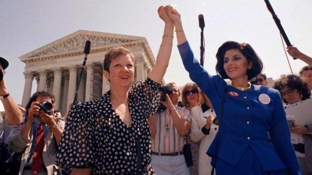 Norma McCorvey en 1973 tras la decisión de la Corte Suprema.
