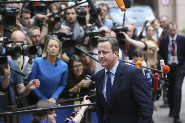 UK Prime Minister David Cameron in Brussels, 28 June