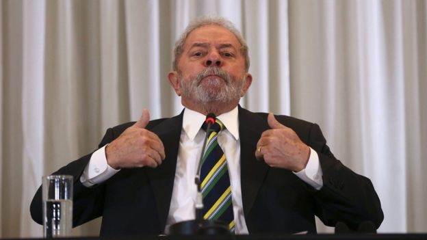 Former Brazilian President, Luiz Inacio Lula da Silva, talks during a press conference with members of the foreign press, in Sao Paulo, Brazil, on 28 March 2016