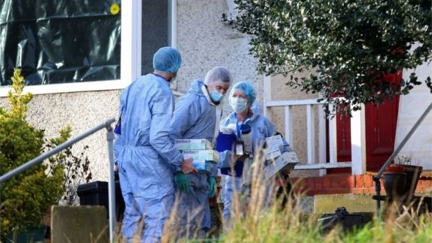 Police forensic officers at the house in Erith