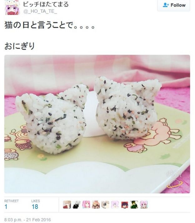 Tweet by @_HO_TA_TE_ on cat-shaped onigiri balls