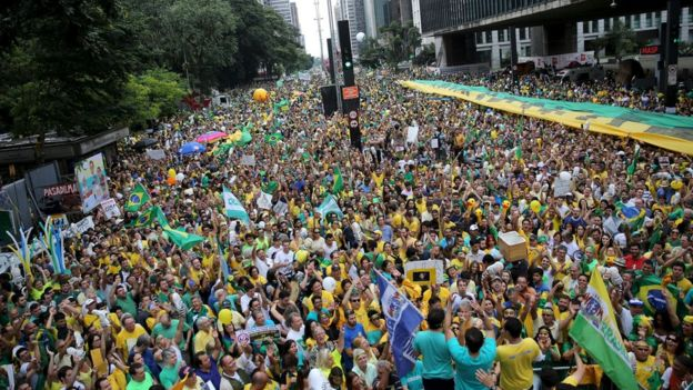 Demonstrators attend a protest against Brazil's President Dilma Rousseff