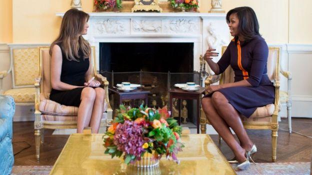 Melania Trump con Michelle Obama