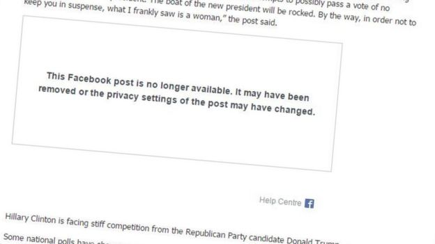 A screen grab from Citi FM in Ghana, saying a Facebook post is no longer available