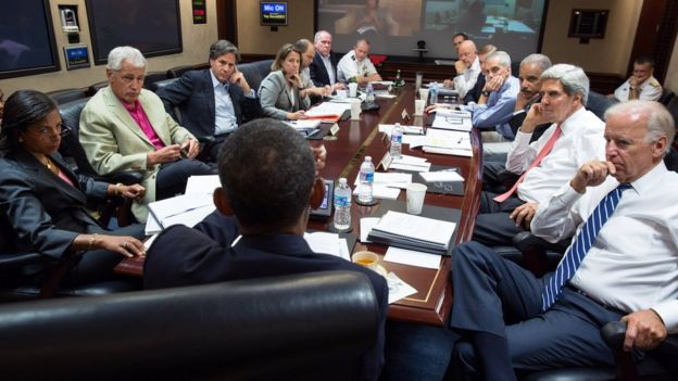 In this handout provided by the White House, U.S. President Barack Obama (C) meets in the Situation Room with his national security advisors to discuss strategy in Syria