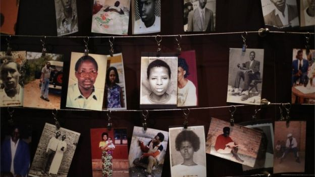 Images of genocide victims at the Kigali Genocide Memorial Museum