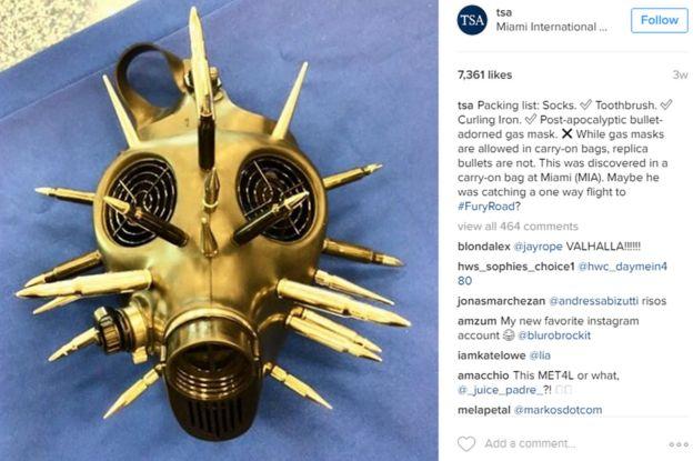 Máscara de gas descubierta por la TSA en Miami