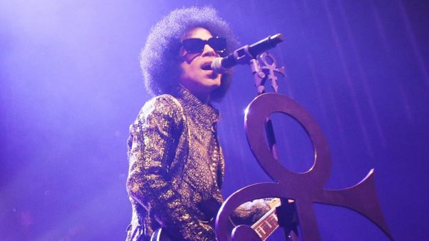 Prince on stage in 2016
