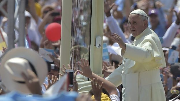 Up to a million people reportedly gathered in Guayaquil to see Pope Francis.