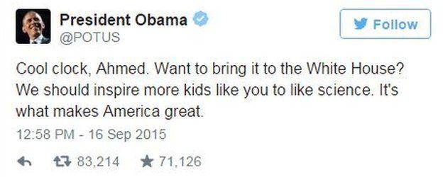 President Obama tweet: