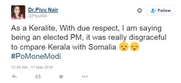 As a Keralite, With due respect, I am saying being an elected PM, it was really disgraceful to cmpare Kerala with Somalia 😞😞