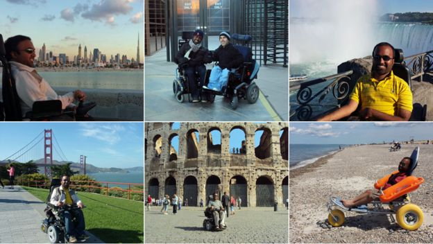 Six of Srin's holiday photos - in Dubai, with Martyn in Las Vegas, at Niagara Falls, in San Francisco, in Rome, and on the beach at Cape Cod