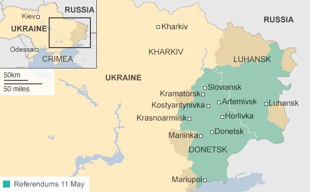 Карта, що показує, де проходить 11 травня референдуми