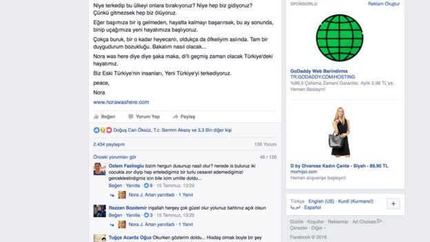 Nora Jartan'ın Facebook mesajı