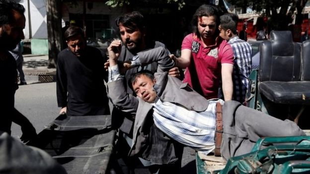 Injured man in Kabul blast, 31 May